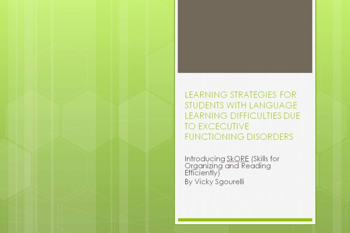 Learning Strategies for students with language learning difficulties due to excecutive functioning disorders
